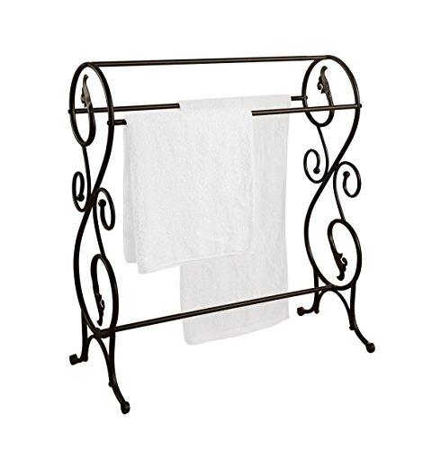 3-Bar Freestanding Metal Towel Rack Stand  Pewter Finish