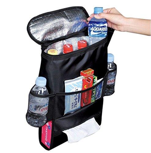 Deler Insulated Auto Car Seat Back Organizer Bottle Drinks Holder  Multi-Pockets Travel Storage Bag  Car Seat Organizer for SUV TrunkHeatCool-Preservation