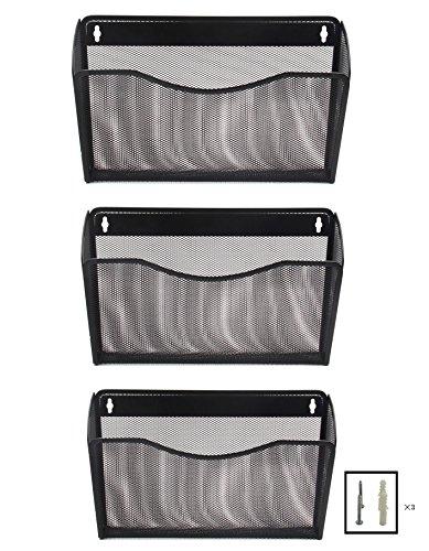 EasyPAG 3 Pocket Office Mesh Collection Wall File Holder Organizer Black