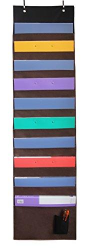 Misslo Wall Hanging Files Organizer 10 Pockets Over Door Storage Pocket Chart Coffee