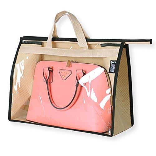 JHGJ Handbag Organizer Storage Bag Holder Dust Cover Hanging Closet Bag Khaki L