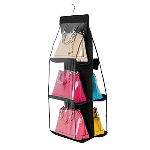 UEETEK Large Clear Purse Handbag Hanging Storage Organizer Closet Black