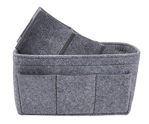 YOPINDO Felt Handbag Organizer Insert Bag Purse Organizer Handbag Shaper 12 Pockets Bag in Bag Two Size M L M Grey