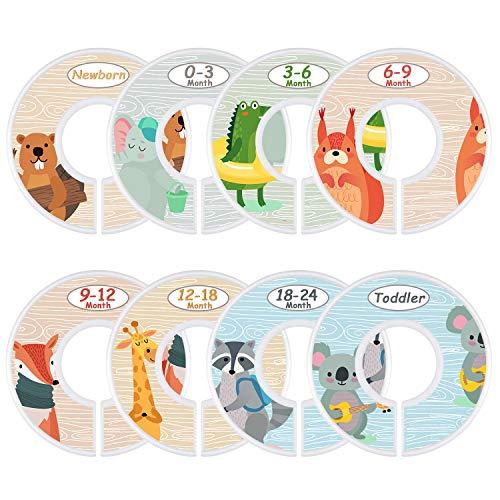 Baby Closet Size Dividers Set of 8 Nursery Baby Closet Clothes Dividers Baby Nursery Toddler Clothes Size Organizer Dividers Girl Boy - Animals