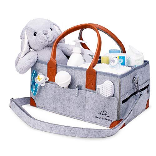 HadleyReese Baby Diaper Caddy Organizer 15 x 10 x 7 Inch - Large Portable Nursery Storage Bag for Travel Car - Diaper Bag Organizer for Diapers Wipes Baby Toys Lotion