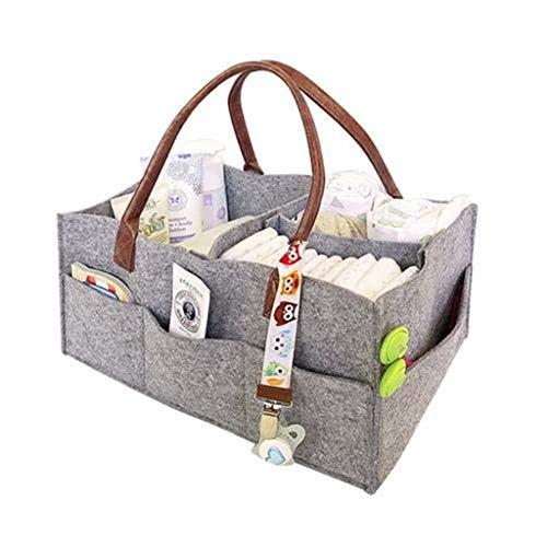 Lurryly Baby Diaper Caddy Organizer - Large Baby Organizers and Storage for Nursery -Portable Diaper Basket Gray 39 x 26 x 17cm  15 x 10 x 7 inch