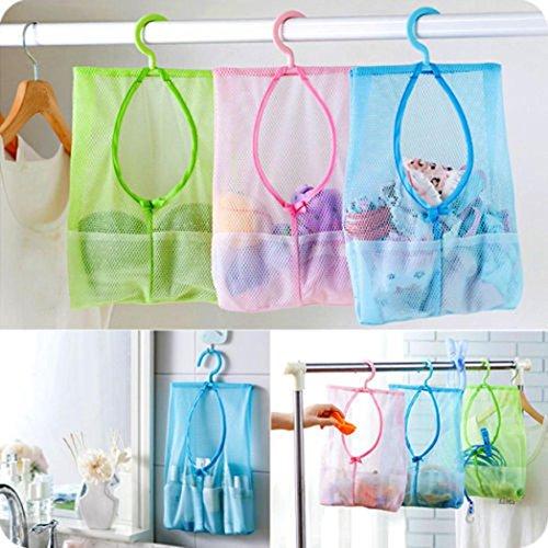 Bathroom Storage Clothespin Mesh Bag Hooks Hanging Bag Organizer Shower Bath New Pink