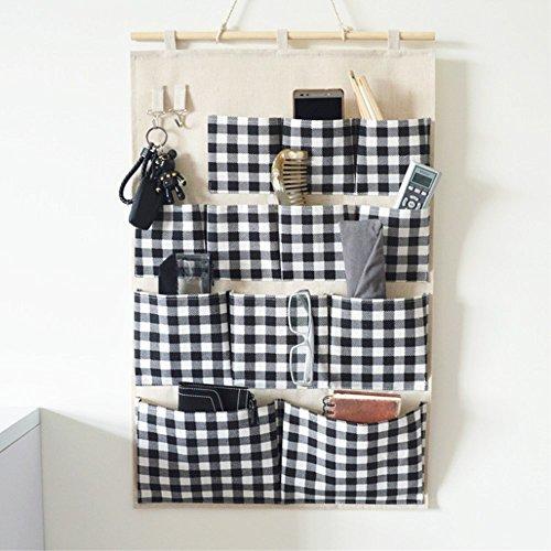 LinenCotton Fabric 12 Pockets Wall Door Closet Hanging Storage bag organizer for Clutch Purses Handbags Scarves Sunglasses B