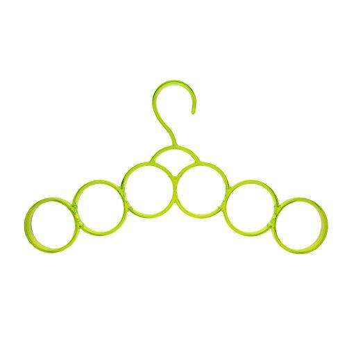 MMRM 6 Rings Scarf Hanger Belt Tie Necktie Organizer Multifunctional Loop - Yellow