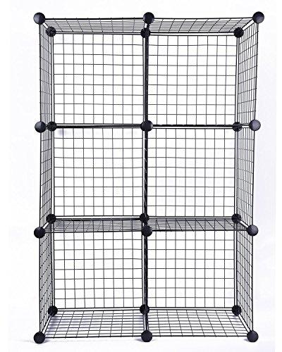 JS Hanger Wire Storage Cubes S6 Black Grid Organizer