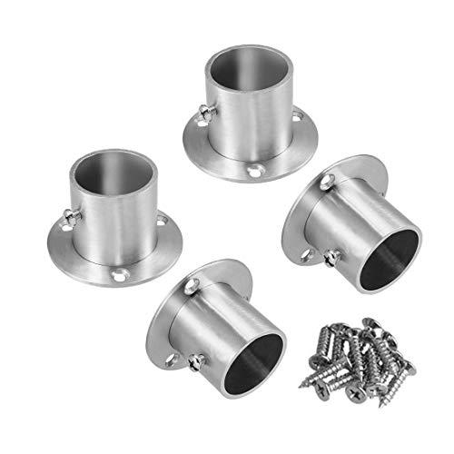 Sydien Closet Pole Socket Rob Support Flange Holder for 32mm125 Dia RodStainless Steel Brushed Finish Pack of 4