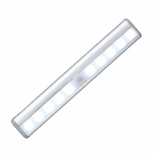 GenLed Motion Sensor Light Bar 10 LED Light Wall Mount or Surface Mount Closet Under Cabinet Light Step Light Vanity Bedroom Bathroom Hallway Stairway