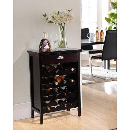 K&B WR1343 Wine Rack Cabinet 16 Bottles Cherry