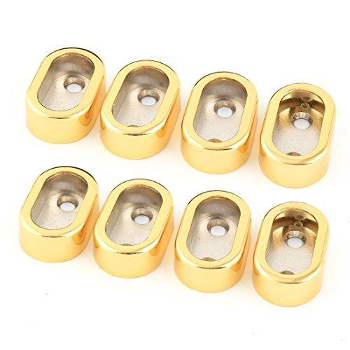 DealMux Metal Home Garment Clothes Closet Rod Holder End Support Socket Bracket 8pcs Gold Tone