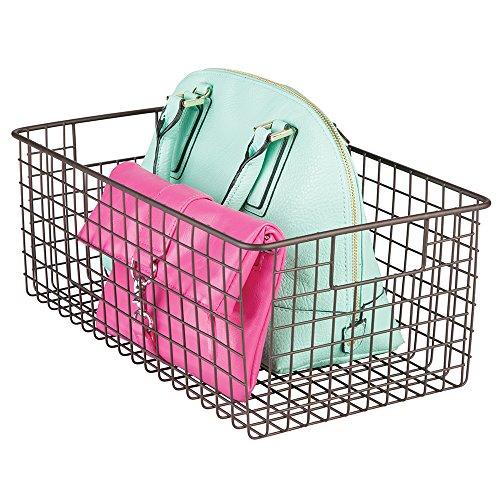mDesign Wire Closet Storage Organizer Basket for Purses Shoes Accessories - Deep Bronze