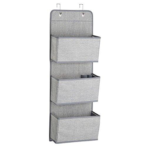 InterDesign Aldo Over the Door Fabric Closet Storage Organizer for Purses Handbags Shoes Sunglasses - 3 Pockets Gray
