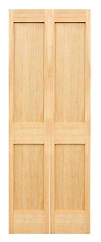JELD-WEN 2 Flat Panel 1 38 Thick Solid Wood Maple 2 Door Bi-Fold Unit Closet Door 30 X 80 Track Hardware Included