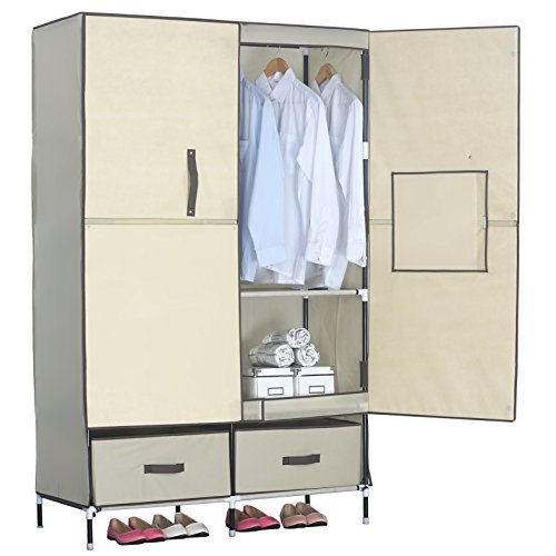 WOLTU Portable Clothes Closet Wardrobe with 2 drawer Clothes Storage with Heavy Duty Doors Cloth Organizer Steel Shoe Rack 6 Shelves Beige