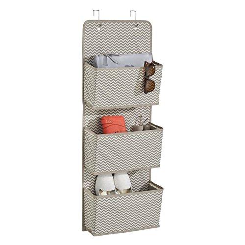 mDesign Chevron Over the Door Fabric Closet Storage Organizer for Purses Handbags Shoes Sunglasses - 3 Pockets TaupeNatural