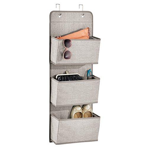 mDesign Over-the-Door Fabric Closet Storage Organizer for Purses Handbags Shoes Sunglasses - 3 Pockets Linen