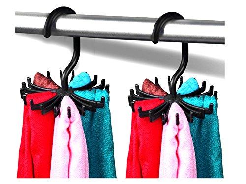 2 Pack 45Black 360 Degree Rotating Twirl Tie Rack Adjustable Tie Belt Hanger Holder Hook Ties for Closet Organizer Storage