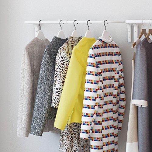 Clothes Bar Adjustable Width Multi Purpose Wall Hanging Closet Organizer Rack Display Durable Steel Material