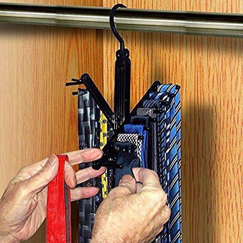 INTBUYING Black 2 PC Necktie Cross Hanger Closet Organizer Rack Adjustable Non-Slip Compact Holds up to 20 Ties