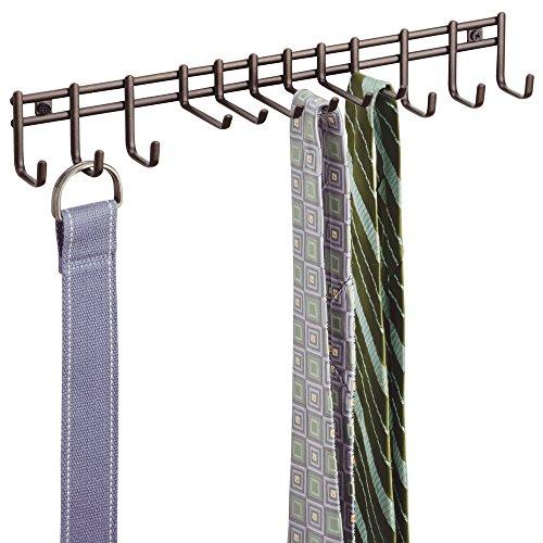 mDesign Closet Organizer Rack for Ties Belts - Wall Mount Bronze