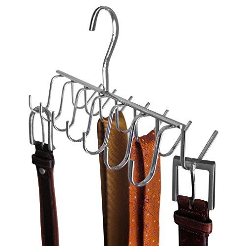 14 Hook Chrome Tie Belt Scarf Hanger Closet Storage Space Saver Rack