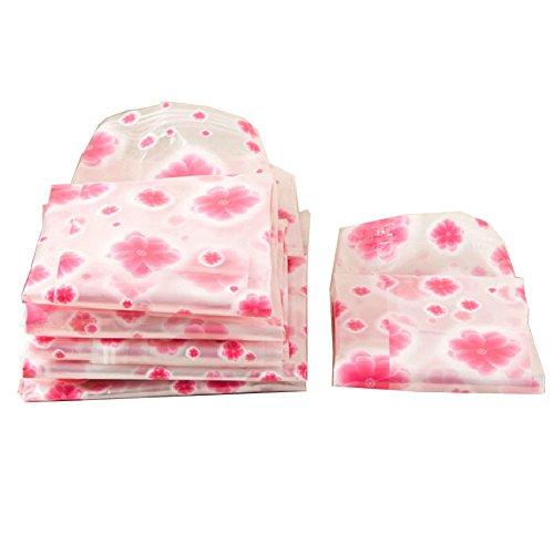 Set Of 10 Closet Storage Space Saver BagsVacuum Storage Bags Pink Flowers