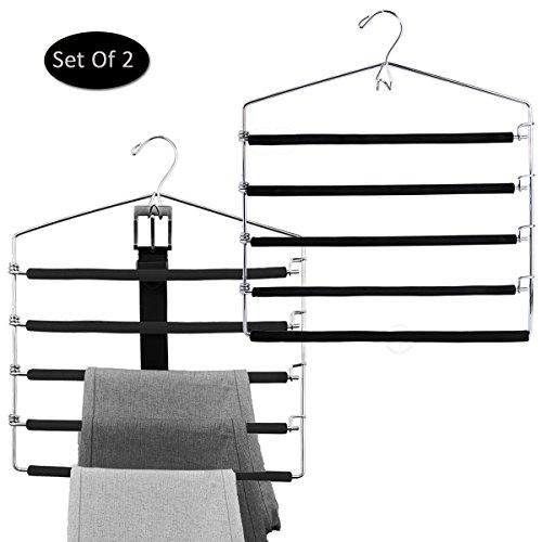 SharPlus Foam Padded Pants Slacks Trousers Hangers Closet Storage Space Saver 4 Tier Swing Arms Jeans Hangers With Belt Hook Chrome Finish Set of 2 Black