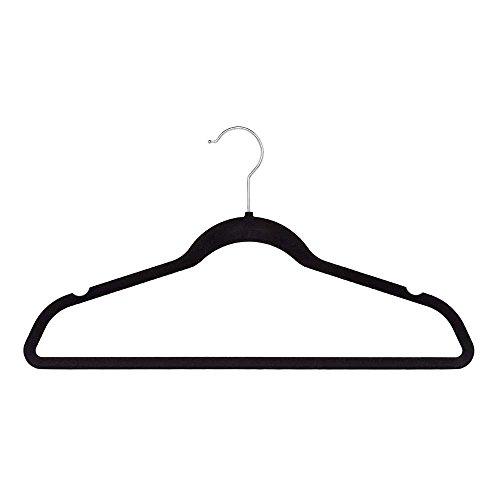 Jeronic Ultra Thin Non-Slip Velvet  Clothes Hanger Pack of 50 Black