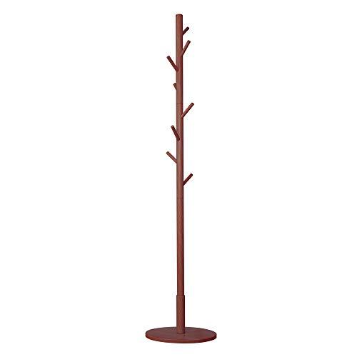Free Standing Wood Coat Rack-8 Hooks Sturdy Wooden Coat Hanger Entryway Hall Tree Coat Tree with Round Base for ClothesScarvesHandbagsUmbrella Brown