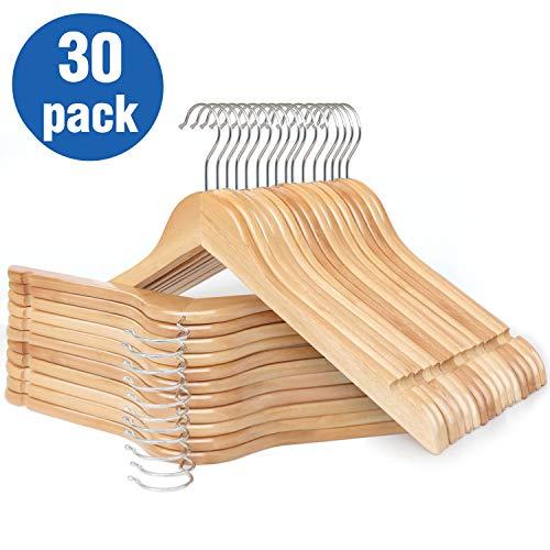 HKLIVE Solid Wooden Hangers Adult Size Non-Pants Bar Coat Hangers Natural Color 30 Pack