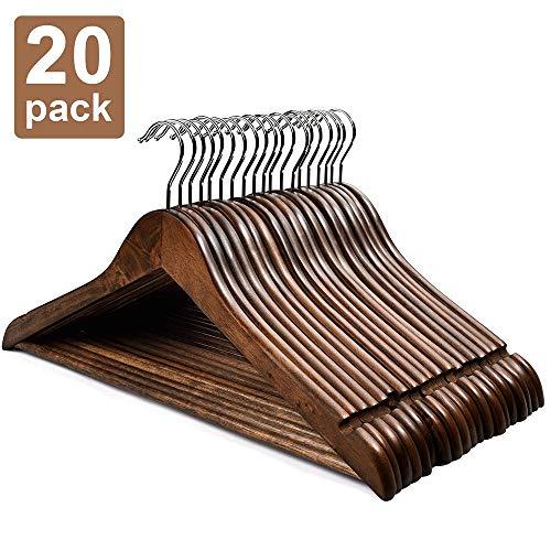 HOUSE DAY Wooden Hangers 20 Pack Wooden Clothes Hanger Wooden Coat Hanger Bulk Walnut Smooth Finish Premium Wooden Hanger for Clothes Dress Suit Renewed