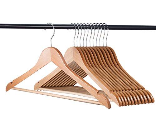 Home-it 20 Pack Natural Wood Solid Wood Clothes Hangers Coat Hanger Wooden Hangers