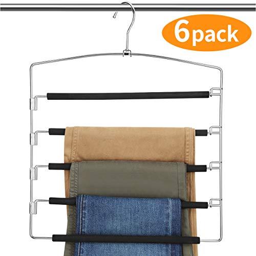 AMKUFO Pants Hangers 5 Layers Multi Trouser Hangers Space Saving Hangers Stainless Steel Non-Slip Foam Padded Swing Arm 6 Pack