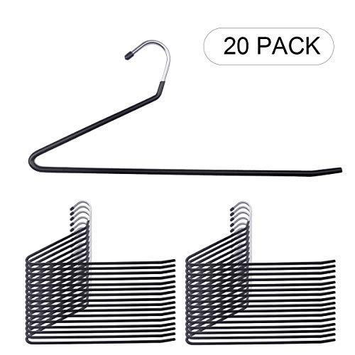 NUOKING 20 Packs Black Pants HangersOpen Ended Slacks HangerAnti-Rust Chrome Metal with Non-Slip CoatingTrousers HangersSpace Saving