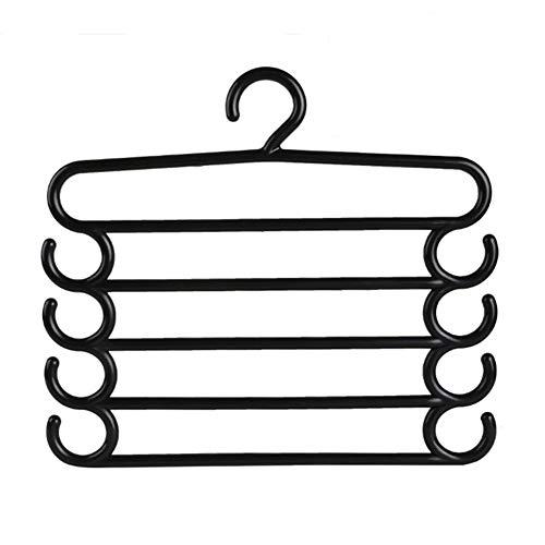 Petrista 5 Layers Trousers Hanger Pants Hanger Non-Slip Trousers Hanger Holder Clothes Belt Tie Scarf Towels Storage Holder Organizer2 Pcs Black