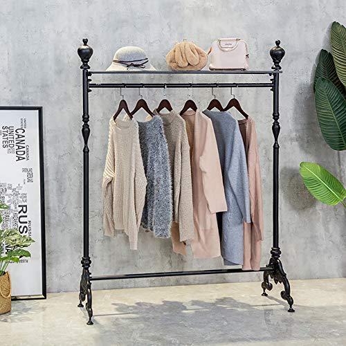 HANS CAO Vintage Iron Pipe Garment Rack Floor-Standing Garment Hanger with Storage ClothesShoeBag Organizers Display Stand Garment Shelf for Retail Stores