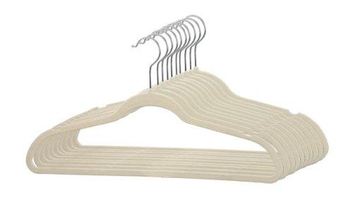 Home Basics Velvet Hangers Non-Slip Hanger-10 Pack-Clothes Hangers Space Saving Ultra Slim Velvet Hanger with Rotating Steel Hook 10 Ivory