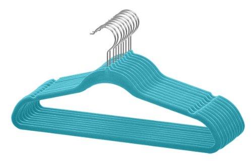 Home Basics Velvet Hangers Non-Slip Hanger-10 Pack-Clothes Hangers Space Saving Ultra Slim Velvet Hanger with Rotating Steel Hook 10 Turquoise