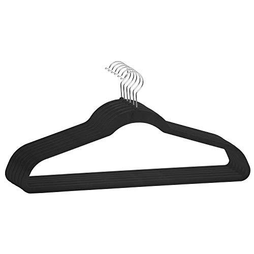 Simplify Extra Wide 21 Velvet Coat Sturdy Durable Heavy Duty Slim Huggable Holds 10lbs per Hanger 6 Pack Black