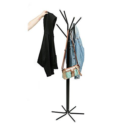 Mind Reader TREECR-BLK Freestanding Jacket Hat Coat Rack Hanger Umbrella Holder with 6 Hooks Black