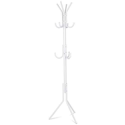 INTEY Standing Coat Rack 11 Hooks Hanger Holder Hooks for Dress Jacket Hat and Umbrella Tree Stand Base Metal White