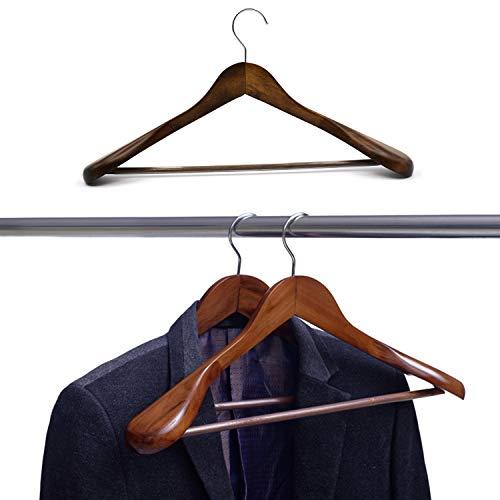SunTrade Wide Shoulder Wooden SuitCoat HangerWood Coat Dress Jacket Heavy ClothesPant Hanger Coffee