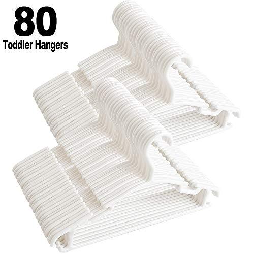 GoodtoU Baby-Hangers-Kids-Toddler-Hanger Childrens Clothes Plastic Infant White Hangers for Baby Junior80 Pack