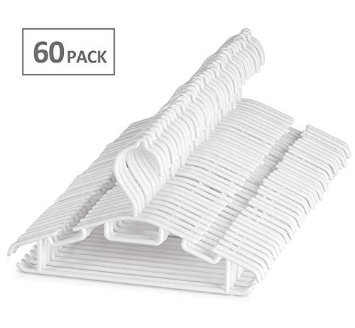 ilauke 60 Pack Non-Slip White Tubular Childrens Hangers 12 Inch for Kids Baby Infant Toddler with Plastic Hanger Straps