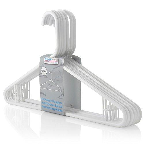 Hangerworld Pack of 10 White Plastic Coat Hanger with Pants  Skirt Bar Loop Hooks 16 Inches