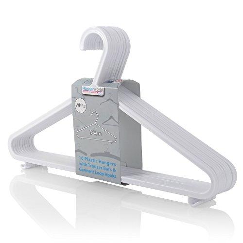 Hangerworld Pack of 20 White Plastic Coat Hanger with Pants  Skirt Bar Loop Hooks 14 Inches